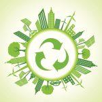 Eco cityscape around a recycle icon